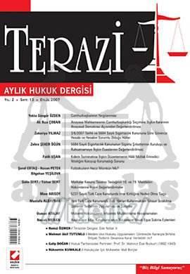 Terazi Aylık Hukuk Dergisi Sayı:13 Eylül 2007
