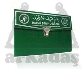 Kur'an-ı Kerim 30 Cüz Hatim Seti (Rahle Boy, Çantalı, Yeşil Kapak, Kod: 102)