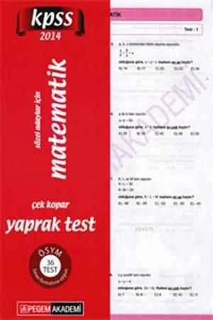 KPSS Genel Yetenek Sözel Adaylar İçin Matematik Çek Kopar Yaprak Test 2014