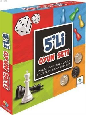 5'Li Oyun Seti; Tavla, Satranç, Dama, Solo Test, Kızma Birader