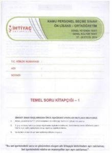 İhtiyaç KPSS Ön Lisans Ortaöğretim Genel Yetenek Genel Kültür Testi 2014