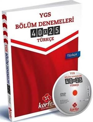 YGS Bölüm Denemeleri Türkçe; 40x25 Çözüm DVD'li