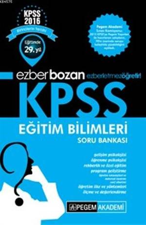 Pegem 2016 Kpss Eğitim Bilimleri Ezberbozan Soru Bankası