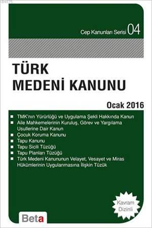 Türk Medeni Kanunu Cep 04- Ocak 2016 / Beta