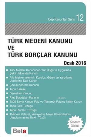 Türk Medeni Ve T.Borçlar Kan.Cep 12-Ocak 2016/Beta