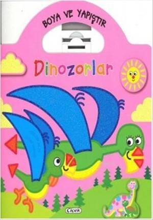 Boya Ve Yapıştır - Dinozorlar Pembe
