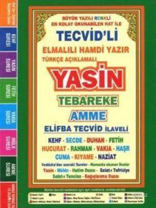 Türkçe Açıklamalı Yasin Tebareke Amme (Çanta Boy, Fihristli); (Büyük Yazılı, Renkli Elifba Tecvid İlaveli)