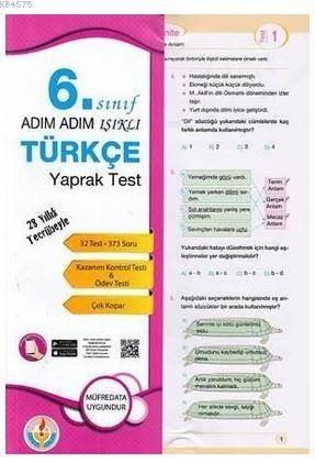 Adım Adım Işıklı 6.Sınıf Türkçe Yaprak Test