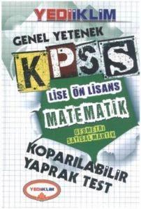 Yediiklim KPSS Genel Yetenek Lise Ön Lisans Matematik Sayısal Mantık Koparılabilir Yaprak Test 2014