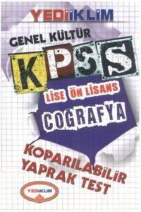 Yediiklim KPSS Genel Kültür Lise Ön Lisans Coğrafya Koparılabilir Yaprak Test 2014