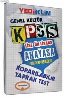 KPSS Gk Lise Önlisans Anayasa Güncel Olaylar Koparılabilir Yaprak Test 2014