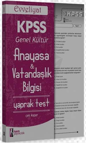 KPSS Anayasa Vatandaşlık Bilgisi Yaprak Test 2016