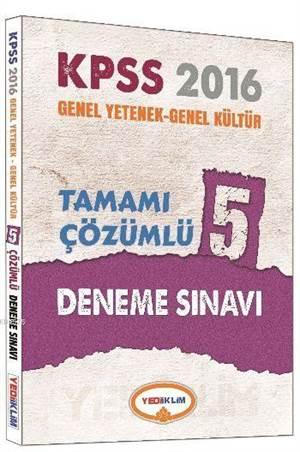 2016 Yediiklim KPSS Genel Yetenek Genel Kültür Tamamı Çözümlü 5 Deneme Sınavı