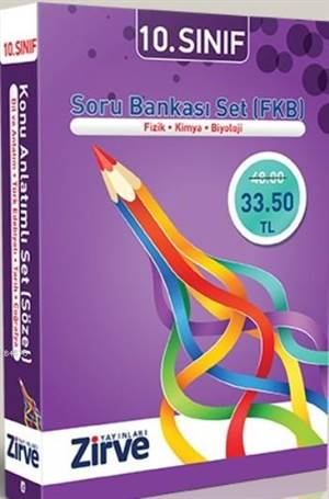 Zirve 10. Sınıf Soru Bankası Set FKB - Fizik-Kimya-Biyoloji