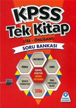 2016 KPSS Tek Kitap Soru Bankası; Lise - Ön Lisans