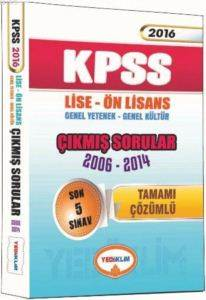 2016 Yediiklim KPSS Lise Ön Lisanas Tamamı Çözümlü 2006-2014 Çıkmış Sorular