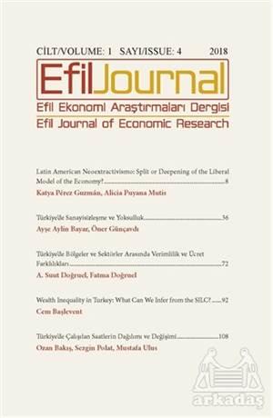 Efil Ekonomi Araştırmaları Dergisi Cilt: 1 Sayı: 4