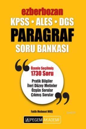 2018 KPSS ALES DGS Ezberbozan Paragraf Soru Bankası
