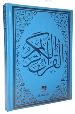 Gül Desenli Renkli Kur'an-I Kerim (Kod:H-12, Rahle Boy, Mavi)