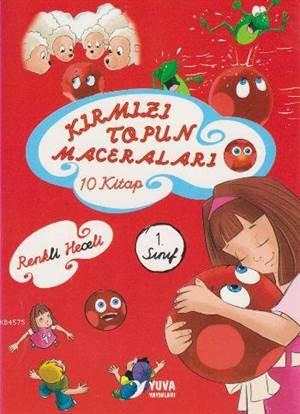 1.Sınıf Kırmızı Topun Maceraları; El Yazılı Renkli Heceli 10 Kitap